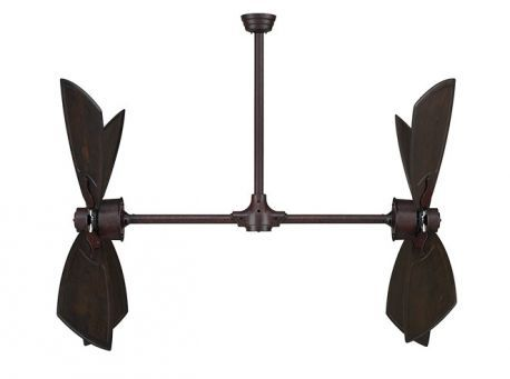 "Palisade Rust Ceiling Fan, 52"" Walnut Carved Wood Blades"