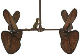 "Palisade Rust Ceiling Fan, 22"" Antique Bamboo Blades And Monkey Accessory"