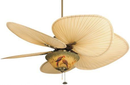 "Islander Antique Brass Ceiling Fan, 3-light And 13"" Hand-painted Parrot Glass Bowl"