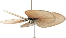 "Islander Antique Brass Ceiling Fan, 22"" Natural Finish Wide Oval Palm Leaf Blades"