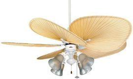 Islander Black 4-light Ceiling Fan, Frosted Tropical Etched Glass
