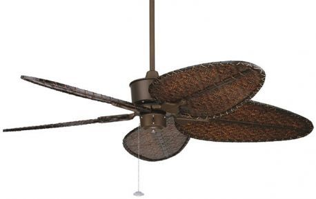 "Islander Oil-rubbed Bronze Ceiling Fan, 22"" Antique Finish Oval Woven Bamboo Blades"