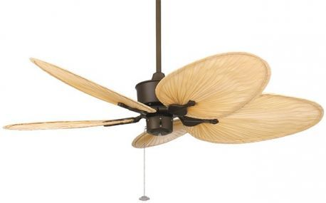 "Islander Oil-rubbed Bronze Ceiling Fan, 22"" Natural Finish Oval Palm Leaf Blades"