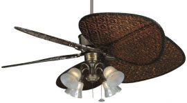 Islander Pewter Ceiling Fan, 4-light Kit, Frosted Tropical Etched Glass