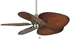 "Islander Pewter Ceiling Fan, 18"" Antique Finish Wide Woven Bamboo Blades"
