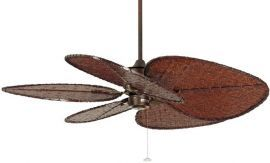 "Islander Rust Ceiling Fan, 22"" Antique Finish Oval Woven Bamboo Blades"