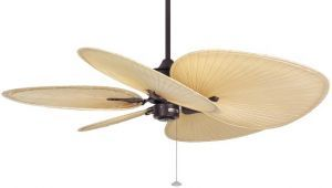 "Islander Rust Ceiling Fan, 22"" Natural Finish Oval Palm Leaf Blades"