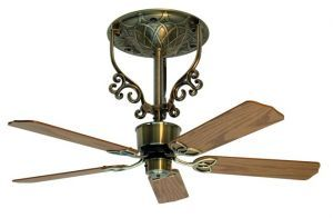 "Americana Short Antique Brass Ceiling Fan, 18"" Oak/walnut Blades"