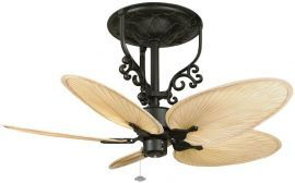 "Americana Black Ceiling Fan, 22"" Natural Finish Narrow Oval Palm Leaf Blades, 220v"