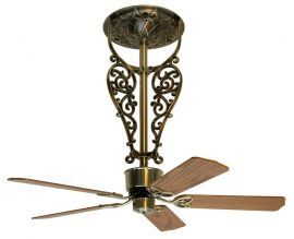 "Americana Long Antique Brass Ceiling Fan, 18"" Oak/walnut Blades"