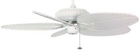 "Belleria Matte White Ceiling Fan, 22"" Oval Composite Woven Bamboo Blades"