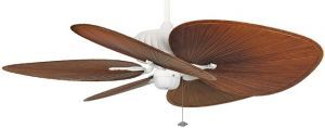 "Belleria Matte White Ceiling Fan, 22"" Brown Oval Composite Palm Leaf Blades"