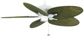 "Belleria Matte White Ceiling Fan, 22"" Green Oval Composite Palm Leaf Blades"