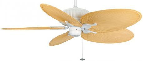 "Belleria Matte White Ceiling Fan, 22"" Natural Oval Composite Palm Leaf Blades"