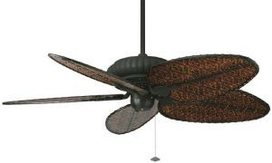 "Belleria Textured Black Ceiling Fan, 22"" Antique Finish Composite Woven Bamboo Blades"