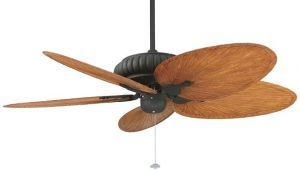 "Belleria Textured Black Ceiling Fan, 22"" Brown/red Composite Palm Leaf Blades"