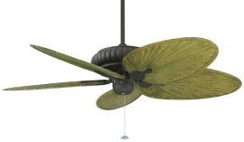 "Belleria Textured Black Ceiling Fan, 22"" Green Oval Composite Palm Leaf Blades"