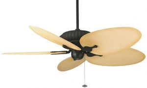 "Belleria Textured Black Ceiling Fan, 22"" Natural Oval Composite Palm Leaf Blades"