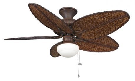 "Belleria Tortoise Shell Ceiling Fan, 22"" Antique Finish Blades And Light Kit"