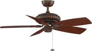"Belleria Tortoise Shell Ceiling Fan, 20"" Mahogany Curved All-weather Composite Blades"