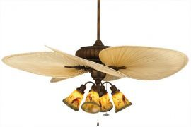 "FP4320TS1-ISP1-F404TS-G239 Belleria Tortoise Shell Ceiling Fan w/ 22"" Natural Wide Oval Natural Palm Leaf Blades"