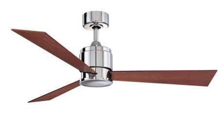 Zonix Polishe Nickel Ceiling Fan With Reversible Cherry/walnut Wood Blades