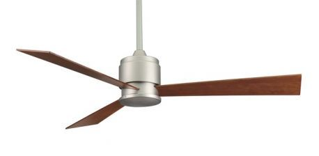 Zonix Satin Nickel Ceiling Fan With Reversible Cherry/walnut Wood Blades, 220v