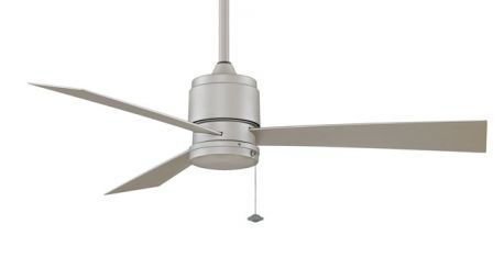 "Zonix Wet Location Satin Nickel Ceiling Fan With 25"" All-weather Satin Nickel Blades, 220v"