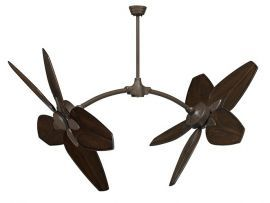 "Caruso Oil-rubbed Bronze Ceiling Fan, 52"" Walnut Carved Wood Blades"