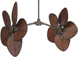 "FP7000OB-CAISD2A Caruso Oil-rubbed Bronze Ceiling Fan w/ 18"" Antique Woven Bamboo Wide Oval Blades"