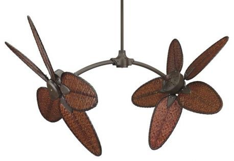 "FP7000OB-CAISD4A Caruso Oil-rubbed Bronze Ceiling Fan w/ 22"" Antique Woven Bamboo Narrow Oval Blades"