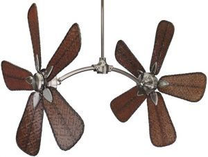"Caruso Pewter Ceiling Fan, 52"" Walnut Carved Wood Blades"