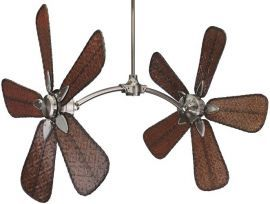 "Caruso Pewter Ceiling Fan, 22"" Antique Bamboo Blades"