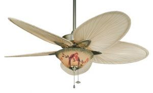 Windpointe Antique Brass Ceiling Fan, 3-light Hand-painted Parrot Glass Bowl