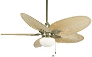Windpointe Antique Brass Ceiling Fan, Low-profile Light Kit White Frosted Glass