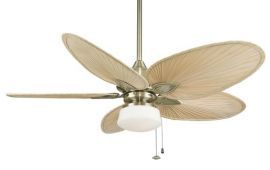 Windpointe Antique Brass Ceiling Fan, Low-profile Light Kit White Flared Glass