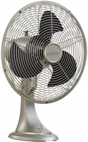 Portbrook Satin Nickel Portable Fan, Black Blades