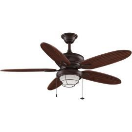 Kaya Rust Ceiling Fan, Cherry Bronze Blades, Opal Frosted Glass