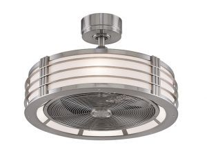 Beckwith Brushed Nickel Ceiling Fan, Aluminum Blades And Opal White Shade