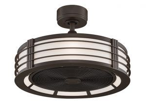 Beckwith Oil-rubbed Bronze Ceiling Fan, Black Blades And Opal White Shade