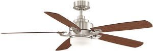 Benito Brush Nickel Ceiling Fan, Opal Frosted Glass, Cherry/walnut Blades, 220v