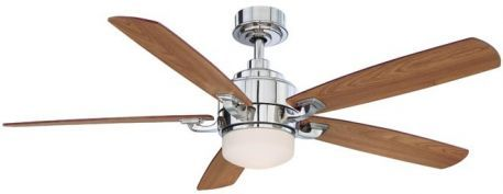 Benito Polished Nickel Ceiling Fan, Opal Frosted Glass, Cherry/walnut Blades