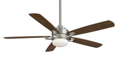 Benito Satin Nickel Ceiling Fan, Opal Frosted Glass, Cherry/walnut Blades