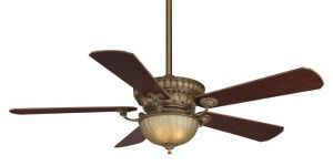 Ventana Sedona Beige Ceiling Fan, Amber Tea Glass, Mahogany/walnut Wood Blades