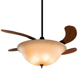 Air Shadow Oil-rubbed Bronze Ceiling Fan With Cherry Wood Blades And Amber Glass Bowl Light
