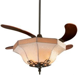 Air Shadow Oil-rubbed Bronze Ceiling Fan With Cherry Wood Blades And Fabric Shade Light Kit