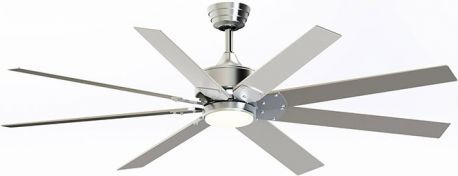Levon Brushed Nickel Ceiling Fan, With Brushed Nickel Blades And Opal Frosted Glass, 18w Led