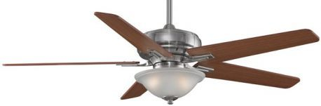 "Keistone Pewter Ceiling Fan With Light, 60"" Cherry/walnut Blades"