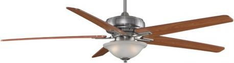 "Keistone Pewter Ceiling Fan With Light, 72"" Cherry/walnut Blades"