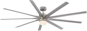Odyn Wet Location Brushed Nickel Ceiling Fan, Opal Frosted Glass